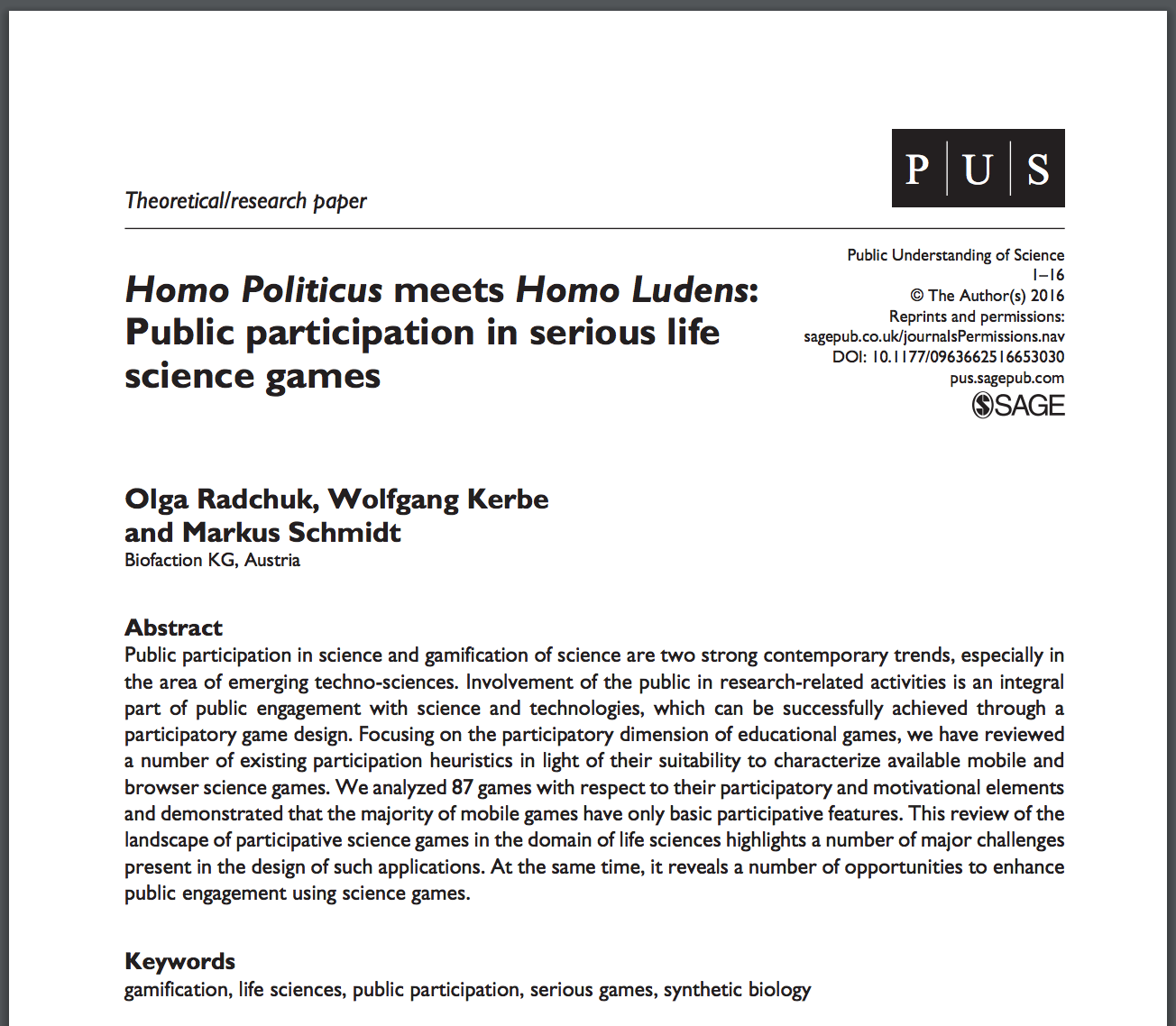 Public participation in serious life science games?